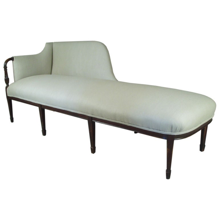 fantastic 1920 39 s linen chaise lounge at 1stdibs