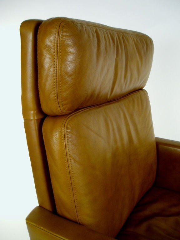 Vintage Leather High Back Chrome Base Chair By Stow Davis