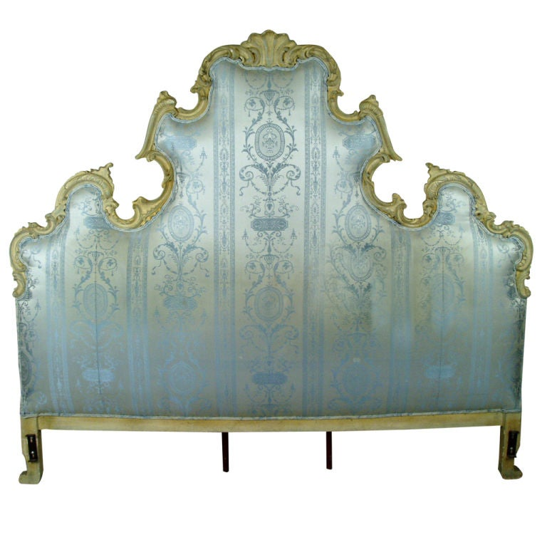 Vintage Hollywood Regency Carved Scroll Headboard