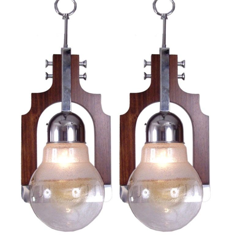 Italian Hanging String Lights : Pair of Italian Blown Glass Hanging Lights by Mazzega at 1stdibs