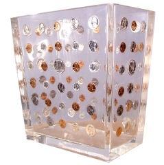 Vintage Lucite & Coins Waste Paper Basket