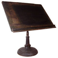 Antique Industrial Cast Iron Pedestal Base Drafting Table