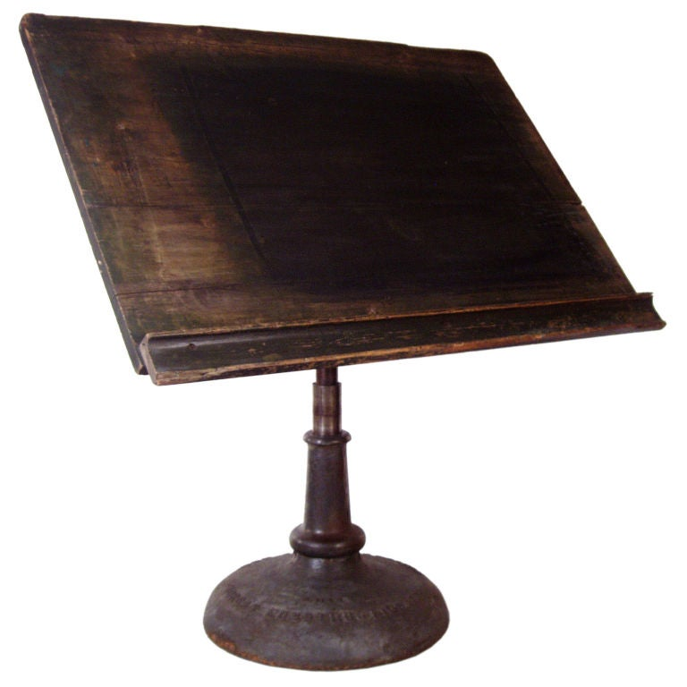 Antique Industrial Cast Iron Pedestal Base Drafting Table 1