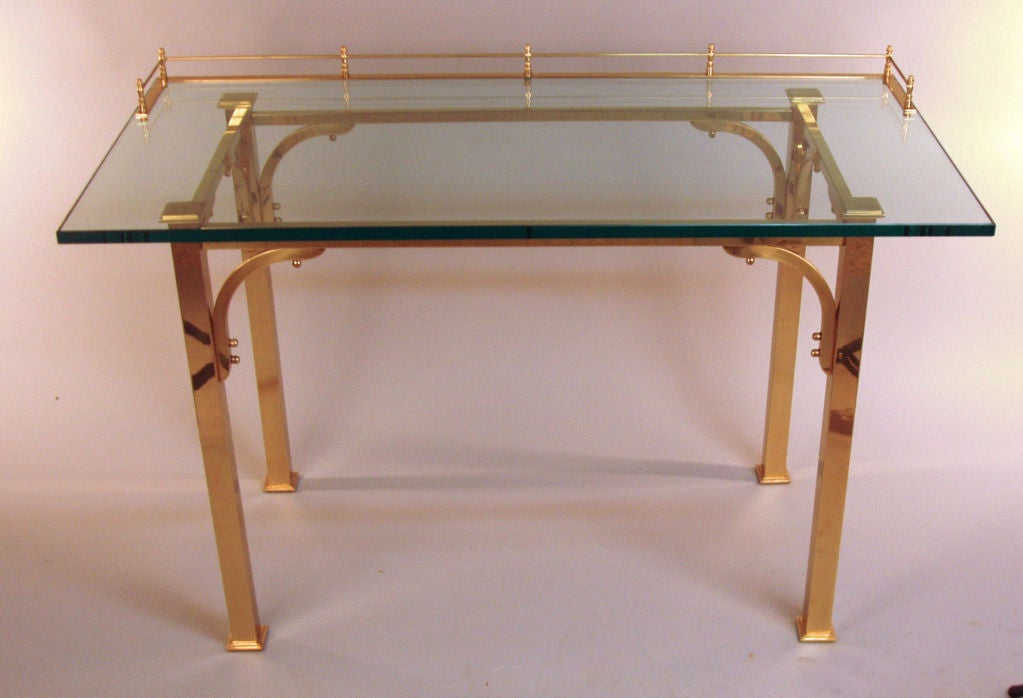 Brass & Glass Writing Desk / Vanity Table 2