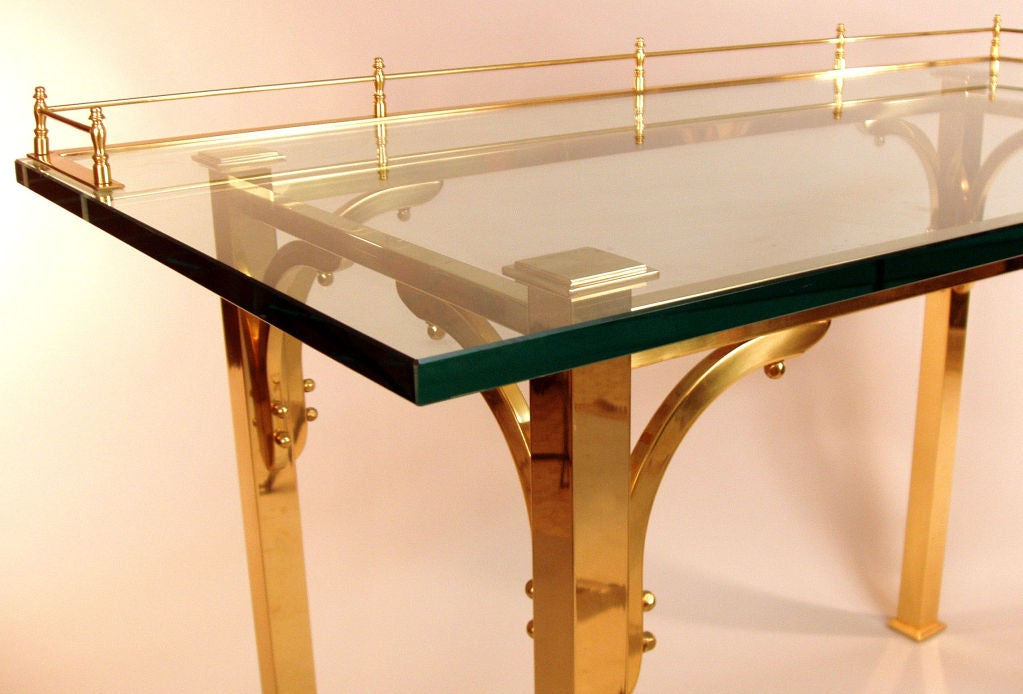 Brass & Glass Writing Desk / Vanity Table 4