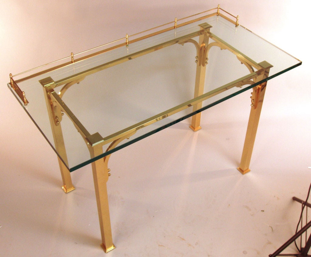 brass and glass writing desk  vanity table at stdibs - brass  glass writing desk  vanity table