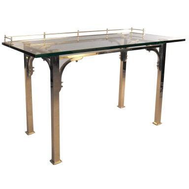 Brass & Glass Writing Desk / Vanity Table