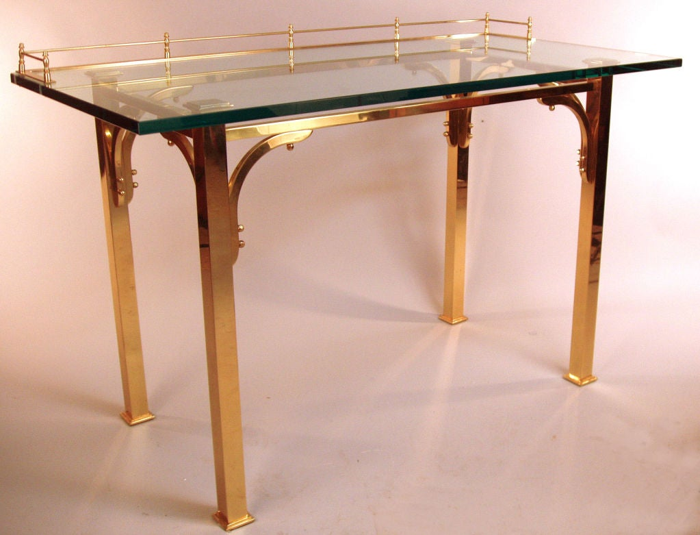 Brass & Glass Writing Desk / Vanity Table 6