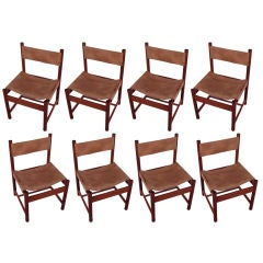 Set of 8 Brazilian Rosewood & Leather Chairs by Michel Arnoult