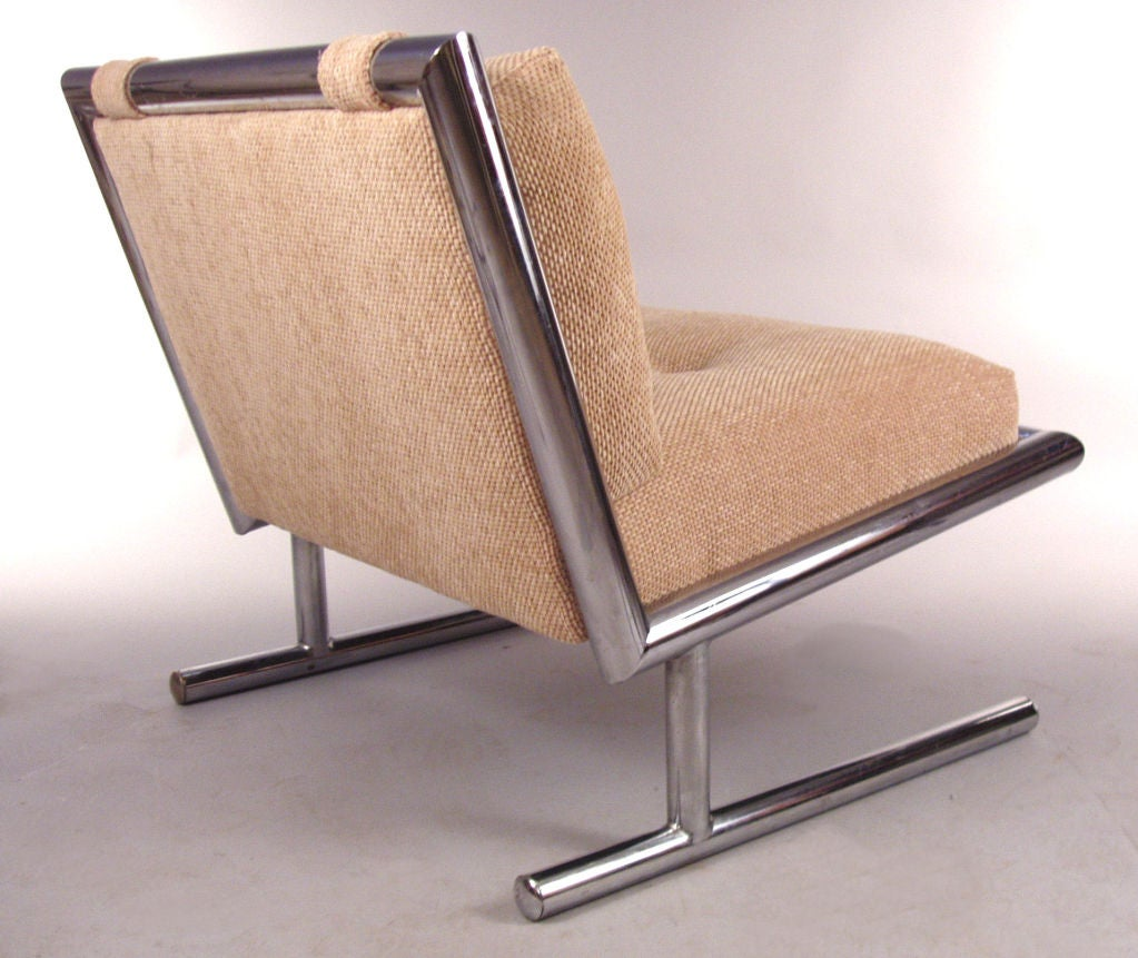 Pair Vintage 1970 S Chrome Frame Lounge Chairs At 1stdibs