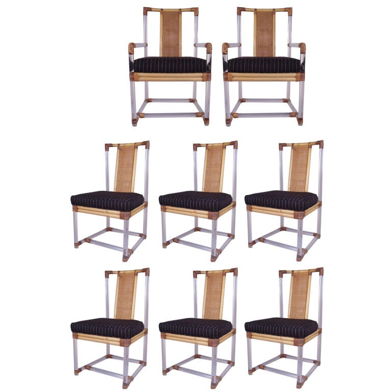 Set Of 8 Vintage Lucite And Rattan Dining Chairs At 1stdibs
