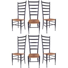 Set of 6 Vintage Italian Ladder Back Chairs