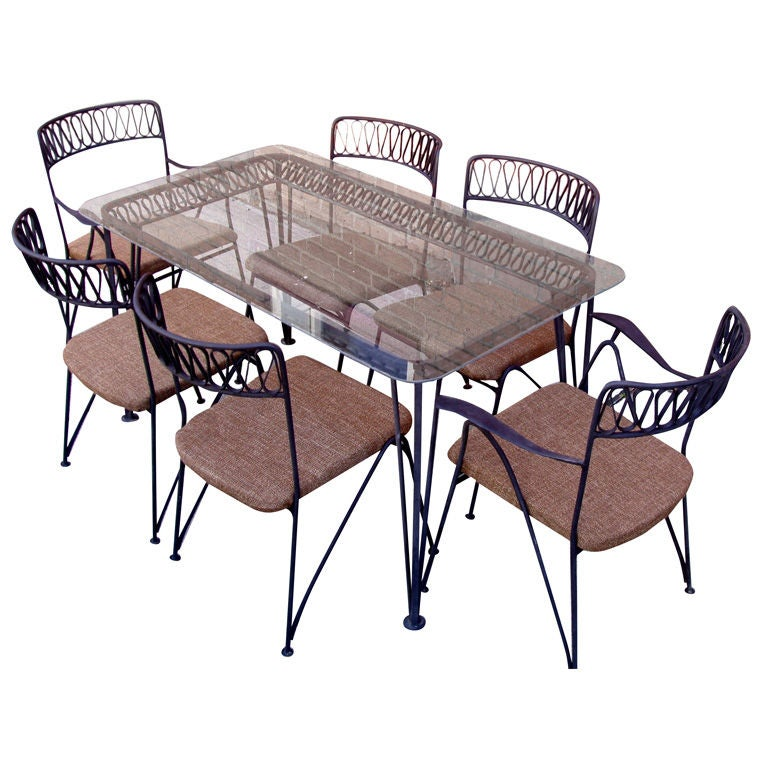 Patio Table and 6 Chairs by Tempestini for Salterini at 1stdibs