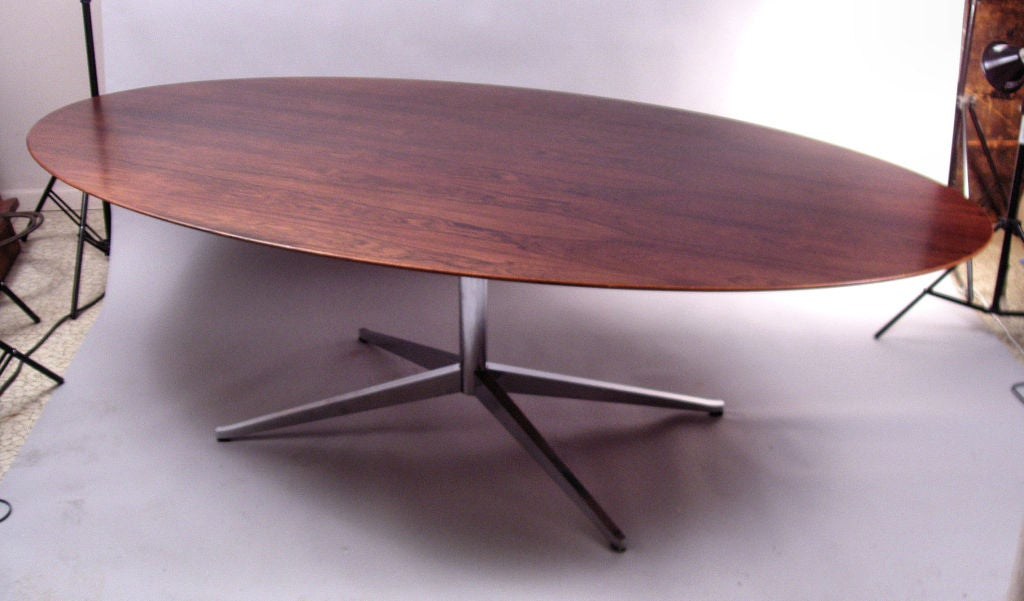 Large Oval Rosewood And Chrome Dining Table By Florence