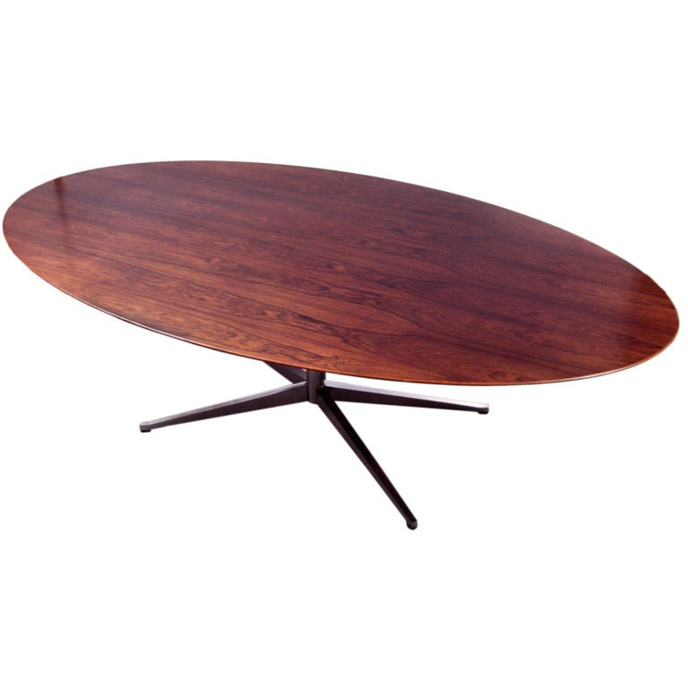 Large Oval Rosewood And Chrome Dining Table By Florence Knoll At