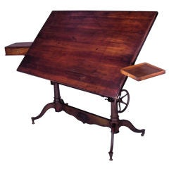 Exceptional Antique Cast Iron Adjustable Drafting Table