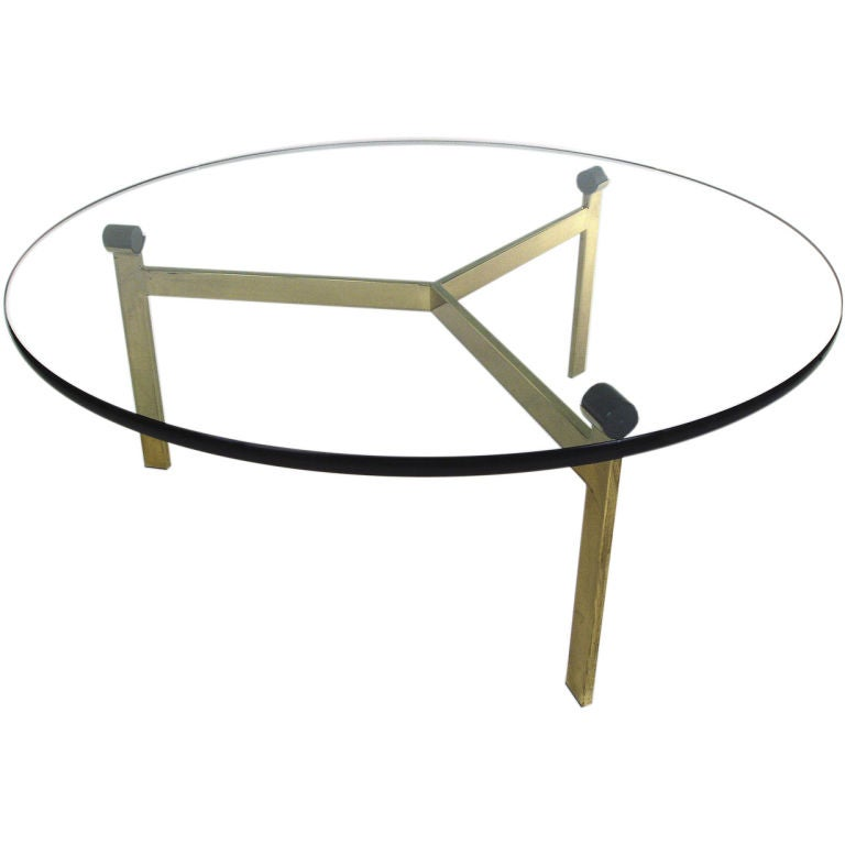 Vintage Floating Top Glass And Brass Cocktail Table At 1stdibs