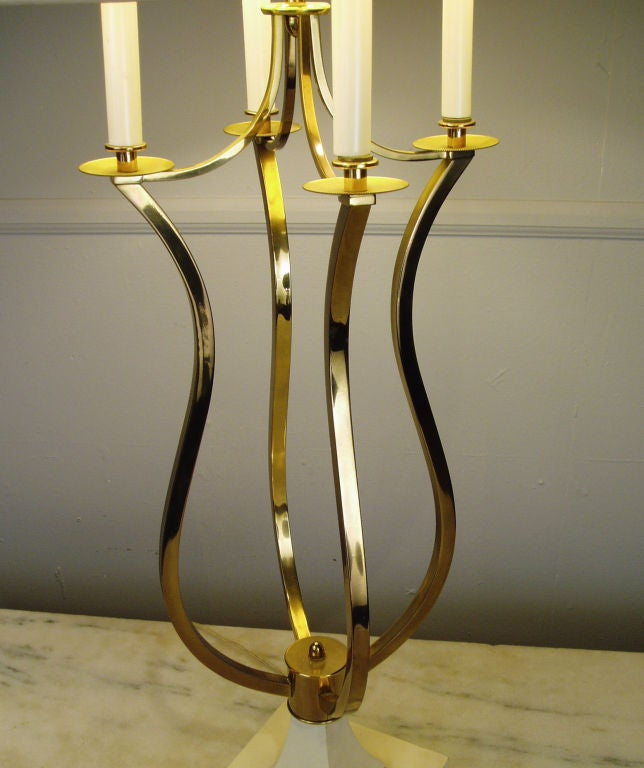 a beautiful large table lamp. Square cream lacquered base with open brass body terminating in 4 lights, with the original silk shade with subtle gold embroidery