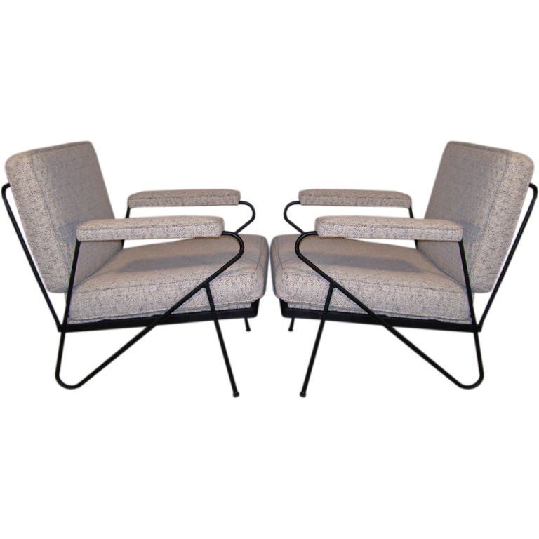 Pair of Upholstered Wrought Iron Lounge Chairs at 1stdibs