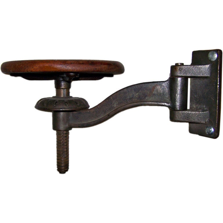 Vintage Cast Iron And Wood Machinist Swing Arm Stool At