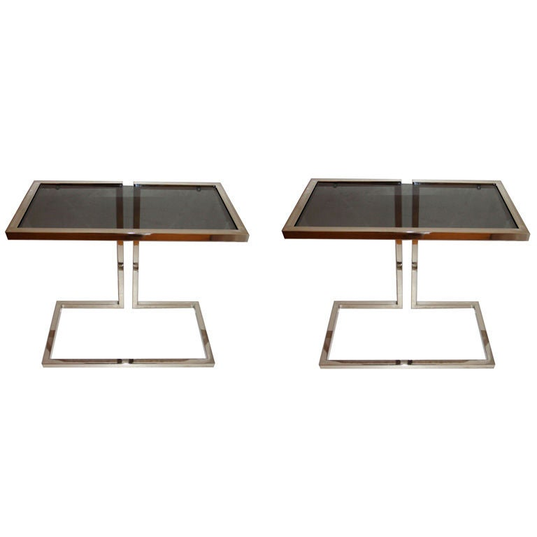 Pair of French Mid-Century Modern Chrome & Smoked Glass Top Side Table, Consoles