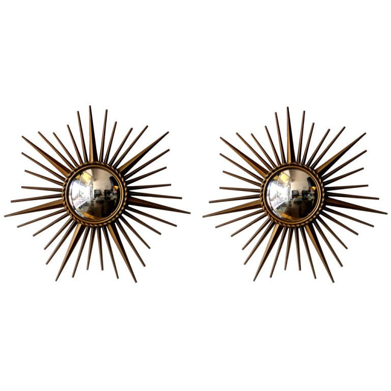 Pair of French Signed Chaty Brass Sunburst Mirrors