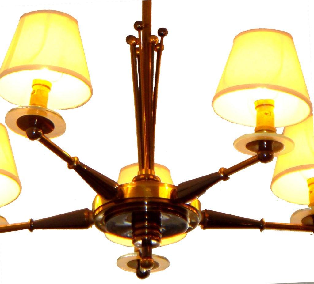 Brass Pair of Maison Jansen Chandeliers For Sale