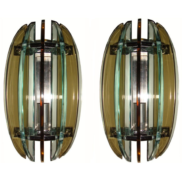 Wall Sconces Glass & Chrome by Veca Italy Mid-Century Modern - 6 Pair Available