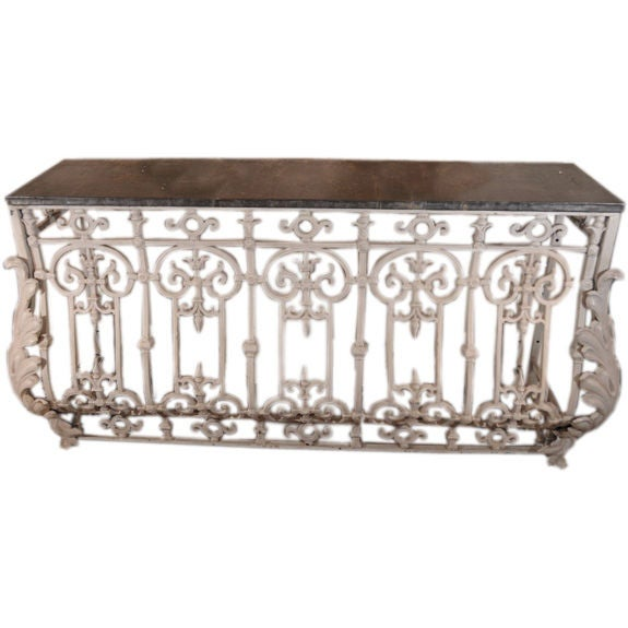 French iron console with zinc top from balcony at 1stdibs for Balcony console