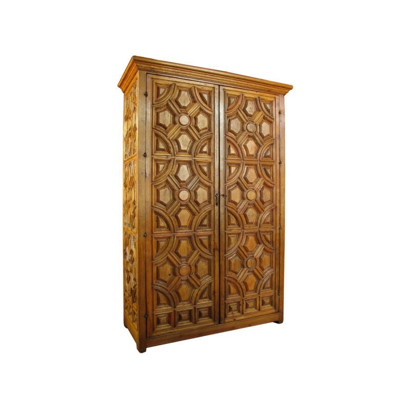 large spanish colonial style entablature armoire at 1stdibs. Black Bedroom Furniture Sets. Home Design Ideas