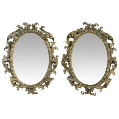 Pair of Oval Rococo Mirrors
