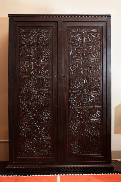 moroccan art deco armoire 1930 at 1stdibs. Black Bedroom Furniture Sets. Home Design Ideas