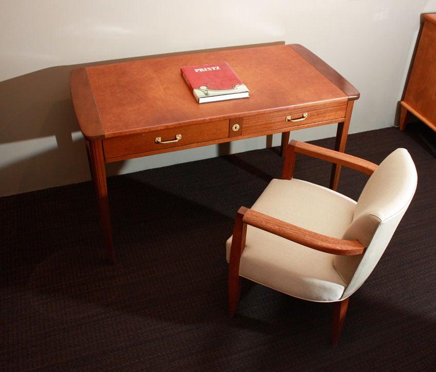 Eugene Printz, 1932 Art Deco Mahogany Desk For Sale 1