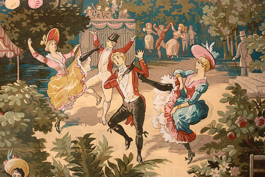 20th Century Moulin Rouge - French CanCan Watercolor Paris 1899 For Sale