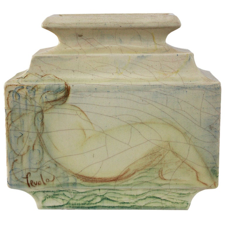 Lachenal French Art Deco Unique Ceramic Piece For Sale