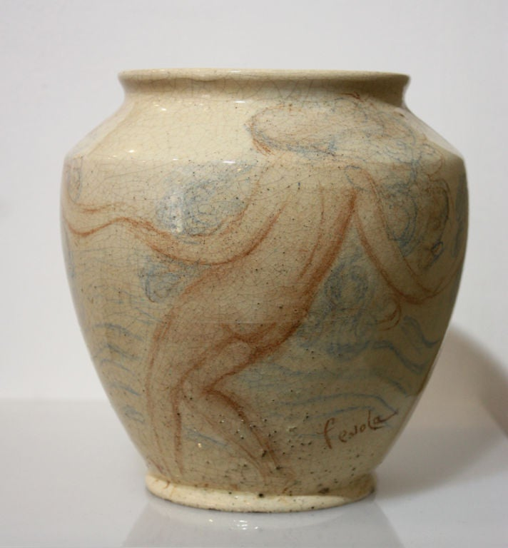 Mid-20th Century Lachenal French Art Deco Unique Ceramic Piece For Sale