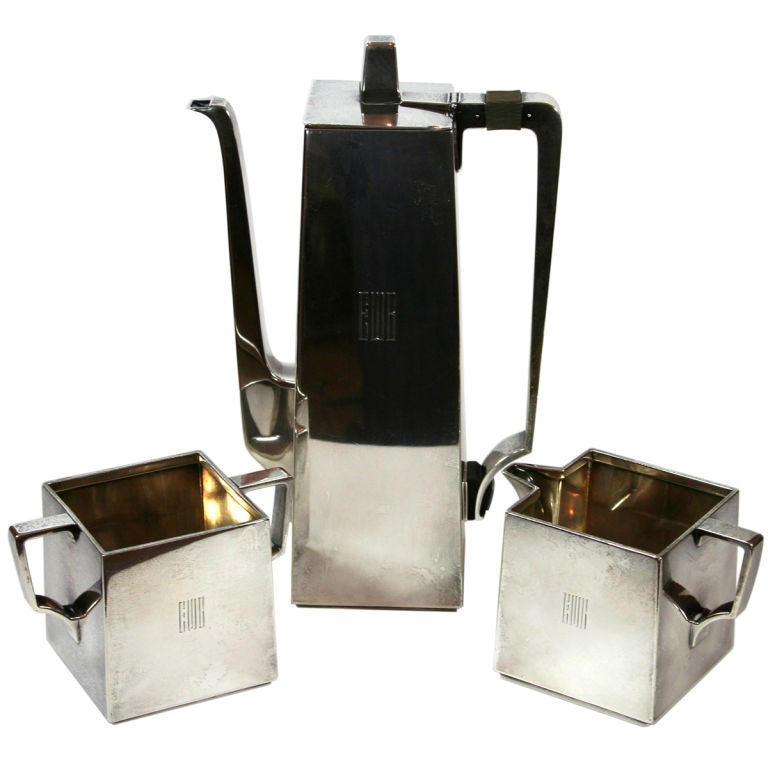 Rare Tiffany bauhaus-influence art deco tea set
