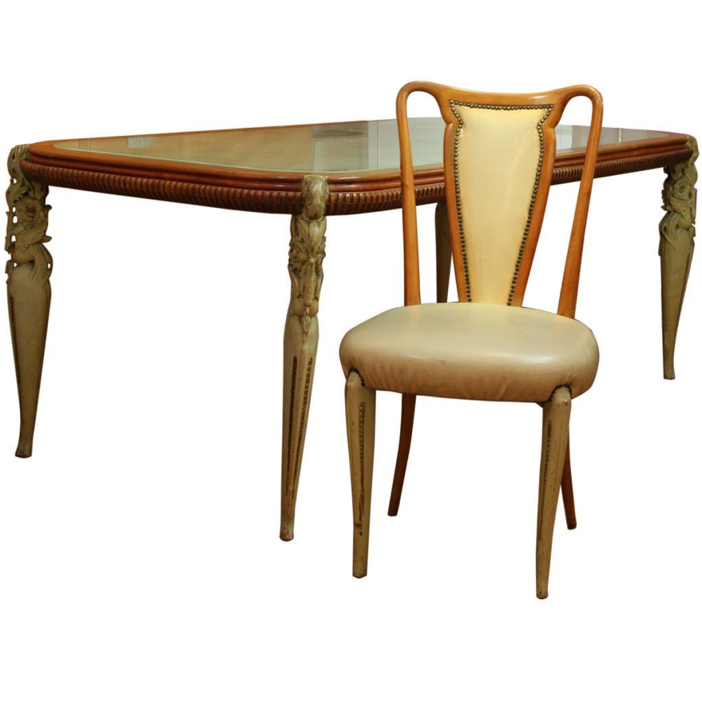 Art deco french fruit wood dining table with 8 chairs at for Artistic dining room tables