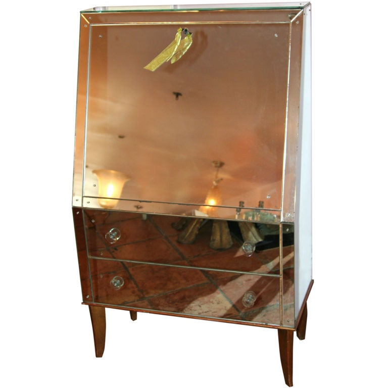 Elle W Collection - Andre Arbus - Mirrored secretaire desk by