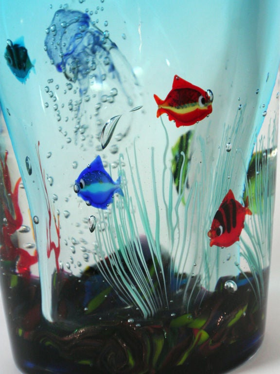 Artist Signed Murano Glass Vase With Sea Creatures At 1stdibs
