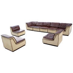 8 Piece Sectional by BD-möbel, Brown Leather Circa 1970's