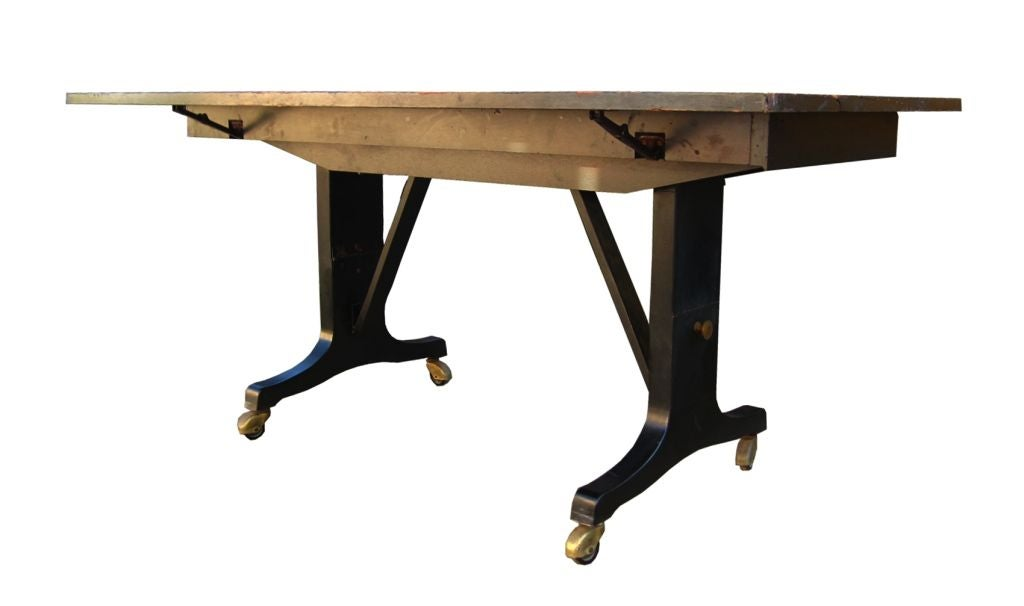 1940 39 s adjustable mahogany dining coffee table in casters for Adjustable coffee table