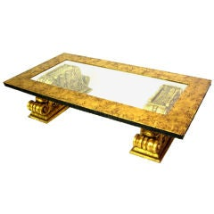 Large Gold Leaf Coffee Table Attributed to James Mont