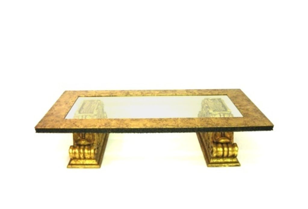 Large Gold Leaf Coffee Table Attributed To James Mont For Sale At 1stdibs