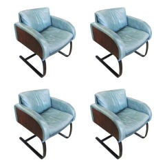 A Set of 4 1970s Green Leather Chairs by Nienkamper Furniture