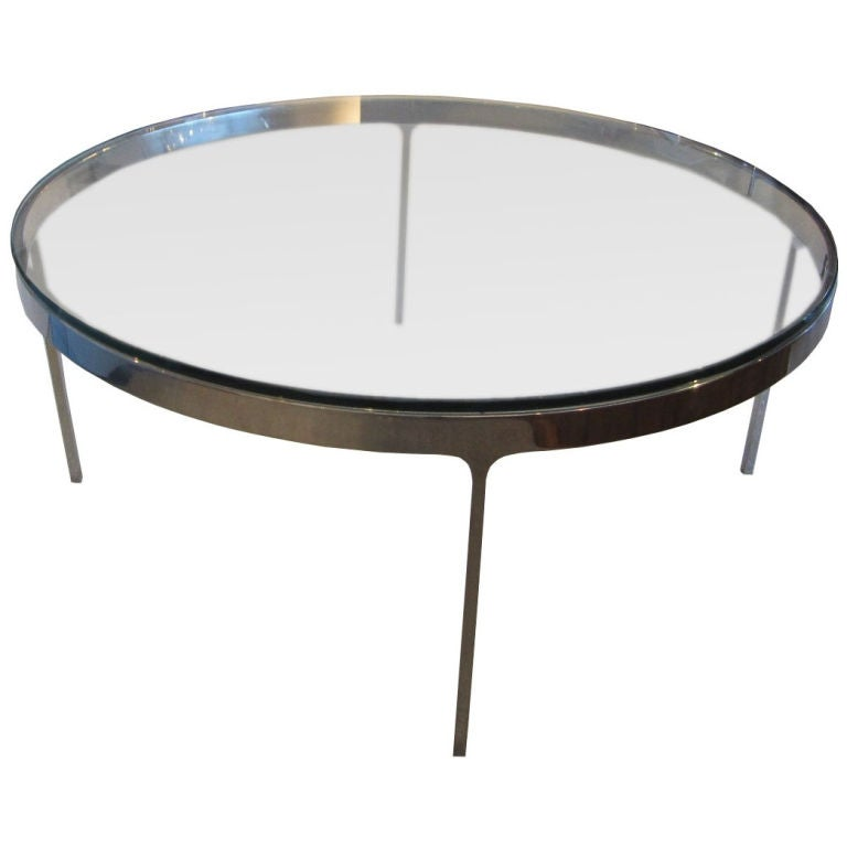 Low Chrome And Glass Coffee Table By Nicos Zographos At