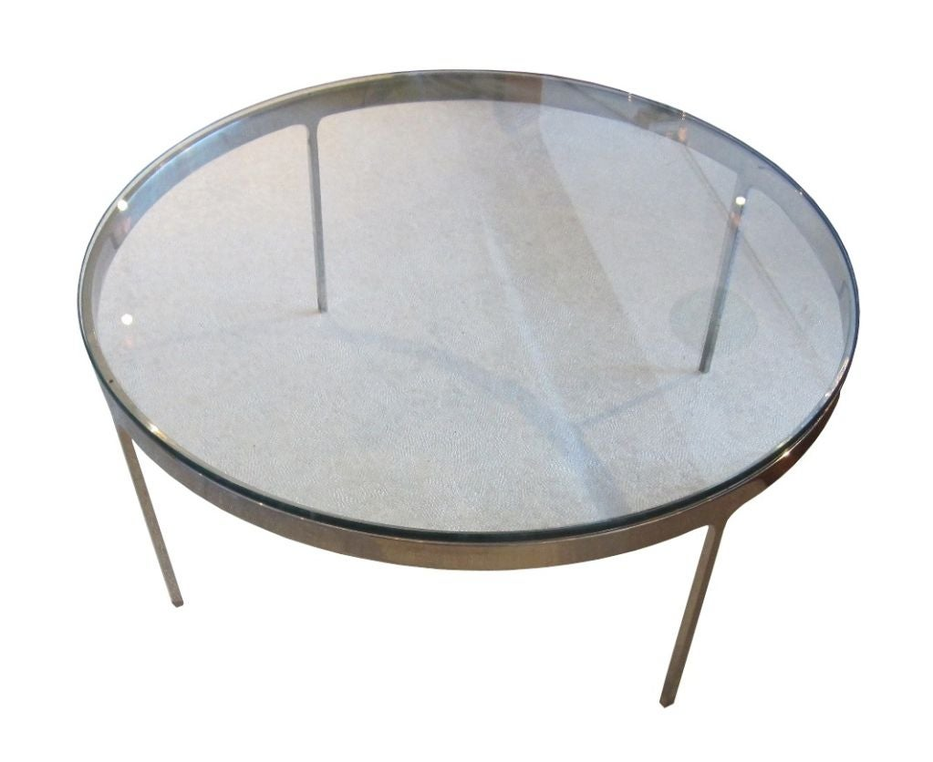 Low Chrome And Glass Coffee Table By Nicos Zographos At 1stdibs
