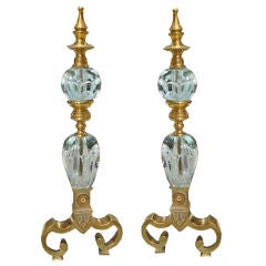 Pair of Controlled Bubble and Brass Andirons