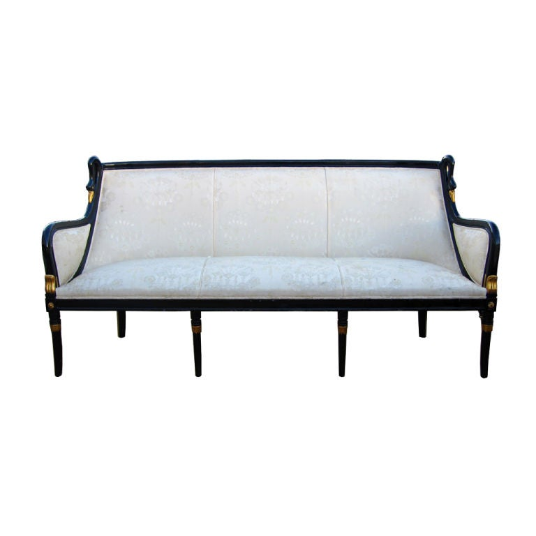 Empire Style Gondola Sofa With Swan Carving By Angelo