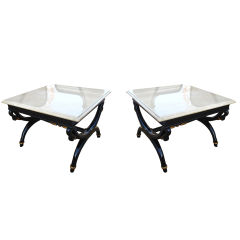 Set of Two Empire Swan Side Tables by Angelo Cappellini